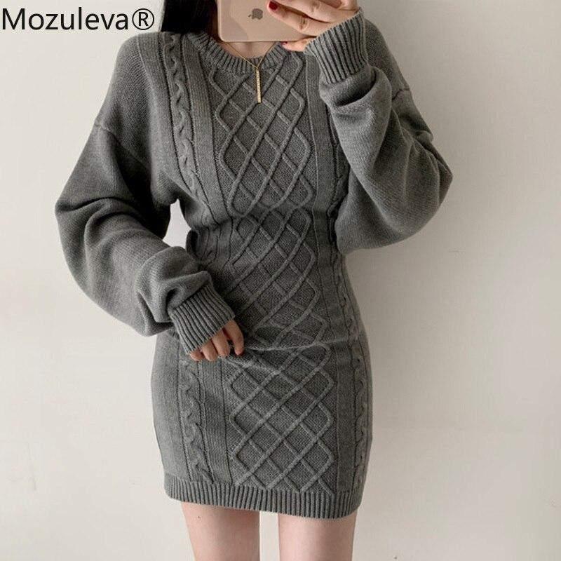 Mozuleva Sexy O-neck Twist Sweater Dress 2019 Women Full Sleeve Backless Female Knitted Dress Hip Package Winter Vestidos