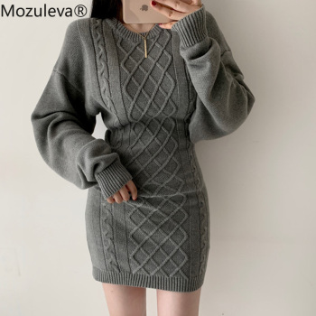 Mozuleva Sexy O-neck Twist Sweater Dress 2019 Women Full Sleeve Backless Female Knitted Dress Hip Package Winter Vestidos mozuleva minimalism loose solid women dress 2020 summer casual vestidos puff sleeve o neck single breasted female mini dress