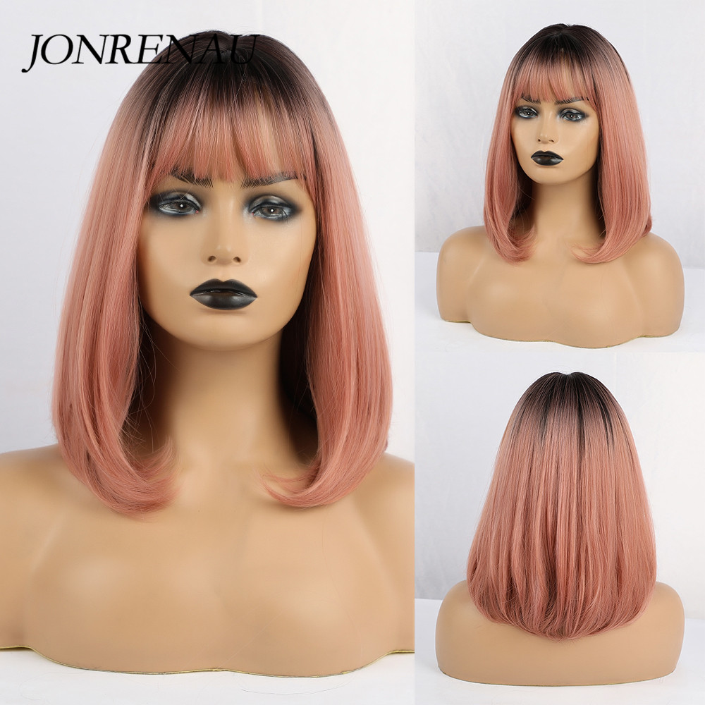 JONRENAU Short Straight Bob Wigs With Bangs Synthetic Ombre Black To Milk Tea Color Wigs For Black/White Women