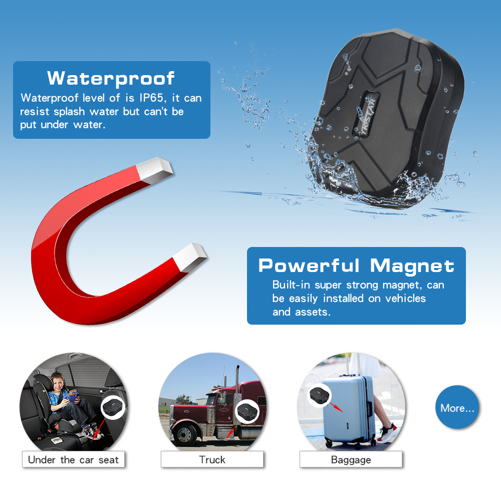 Image 2 - TK905 Waterproof Car GPS Tracker Magnet Vehicle GPS Locator Real Time Lifetime Free Tracking/APP 5000mAh Battery Standby 90Days-in GPS Trackers from Automobiles & Motorcycles