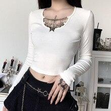 Slim Top T-Shirt black Long-Sleeve Streetwear Punk Gothic-Bottom Goth Girl Butterfly