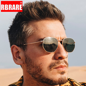 RBRARE Metal Small Frame Square Sunglasses Men/Women Classic Vintage Mercury Ocean Film Fashion Mirror Lunette Soleil Femme