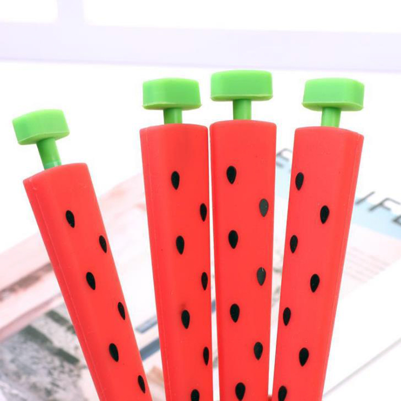 1 Pcs Cute Korean Stationery Lovely 0.5mm Fruit Watermelon Silicone Press Automatic Mechanical Pencils School Office Gift