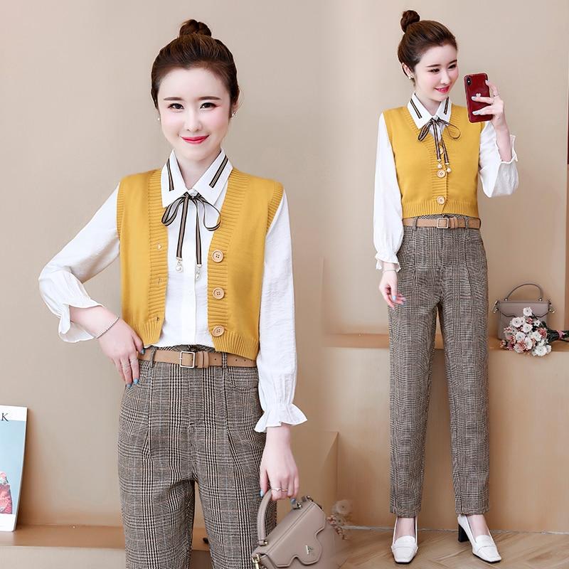 Office 3 Piece Sets Outfits Women Plus Size Shirt+vest+pants Suits 2019 Autumn Vintage Elegant Fashion Korean Three Pieces Sets 46