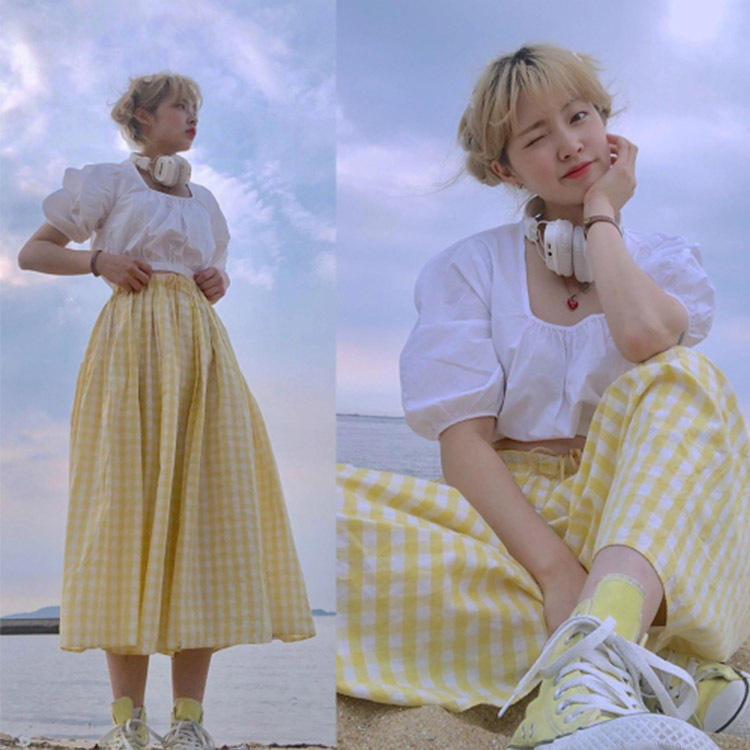 South Korea College Style Girls' Clothing White Short Square Collar Shirt + Yellow High-waisted Pattern Skirt