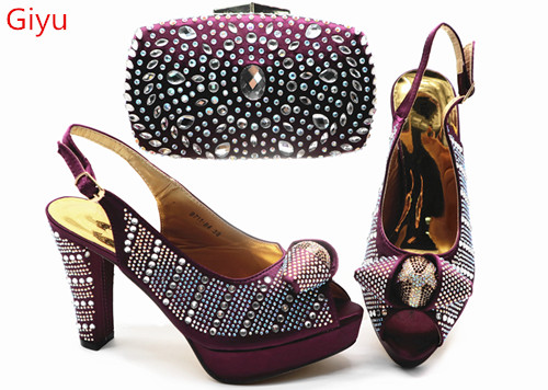 Doershow Fashion Women Shoes And Bag Set In Italy Purple Color Italian Shoes With Matching Bag Set Decorated With Stones!SGX1-14