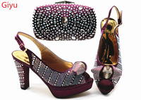 doershow fashion Women Shoes and Bag Set In Italy purple Color Italian Shoes with Matching Bag Set Decorated with stones!SGX1 14