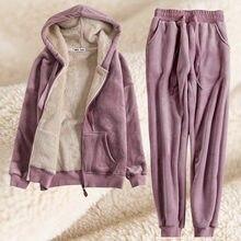 Женская спортивная одежда Зимняя Толстая Флисовая теплая толстовка