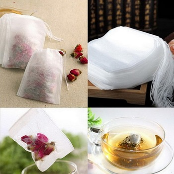 100Pcs / Lot Teabags 5.5 x 7CM Empty Scented Tea Bags With String Heal Seal Filter Paper for Herb Loose Tea