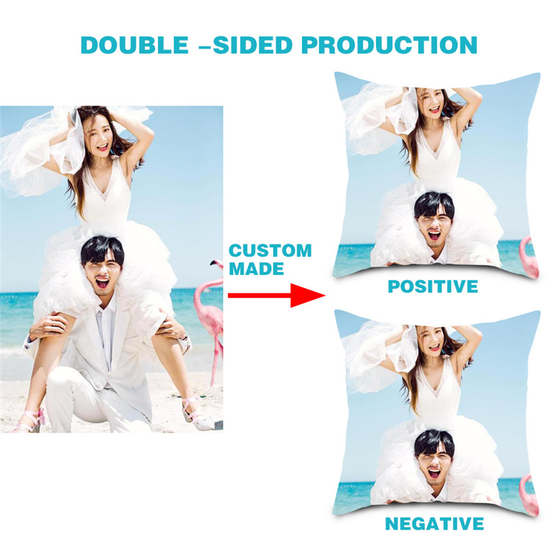 DOUBLE-SIDE Design Picture Personal Photo Wedding Photos Customize Gift Throw Pillowcase Home Cushion Cover  DIY Pillow Cover
