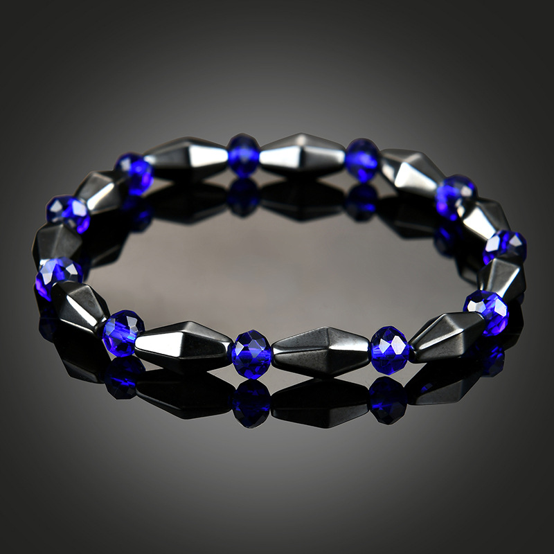 NJ Geometric Silver Blue Beaded Bracelets Nature Lodestone Round Bead Charm Woman & Bangles Accessories Gift