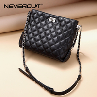 NEVEROUT Classic Lattice Hobos Bags for Women Sheepskin Genuine Leather Ladies Cross body Bag Summer Quilted Shoulder Bag Black