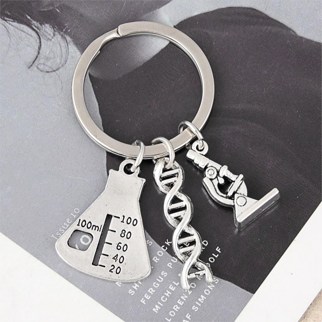 1Pc Doctor Molecular DNA Microscope Keychain Science Microscope Equipment Keyring For Medicine School Gift Jewelry E2699