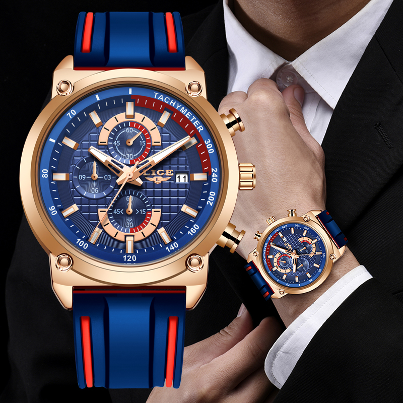 LIGE Mens Watches Dial-Clock Chronograph Quartz Waterproof Silicone Top-Brand Male Fashion
