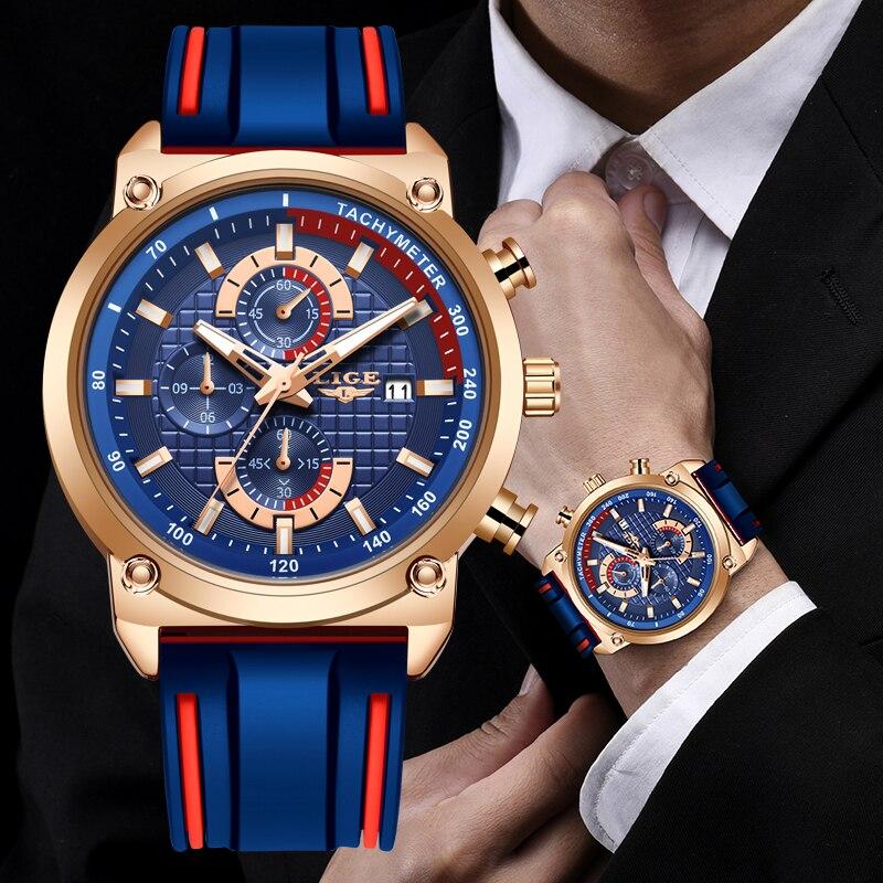 Мужские наручные часы LIGE, роскошные часы с циферблатом, силиконовые водонепроницаемые кварцевые золотые часы, спортивные часы с хронографом, 2019