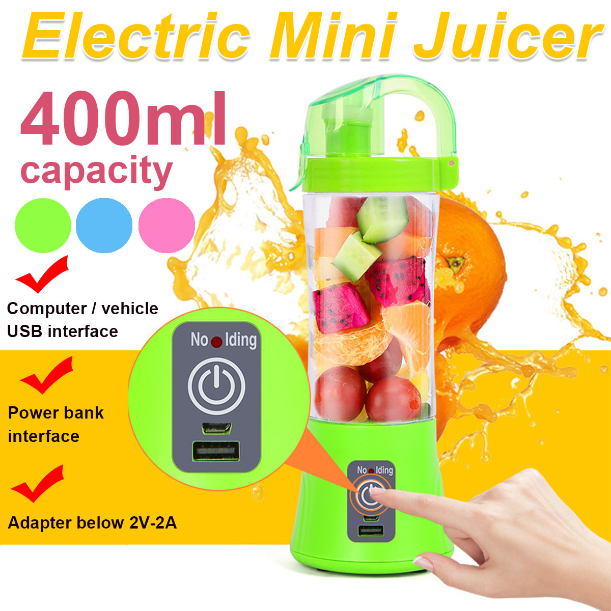400ml Portable Juice Easy Blender USB Juicer Cup Multi-function Fruit Mixer Six Blade Mixing Machine Smoothies Baby Food
