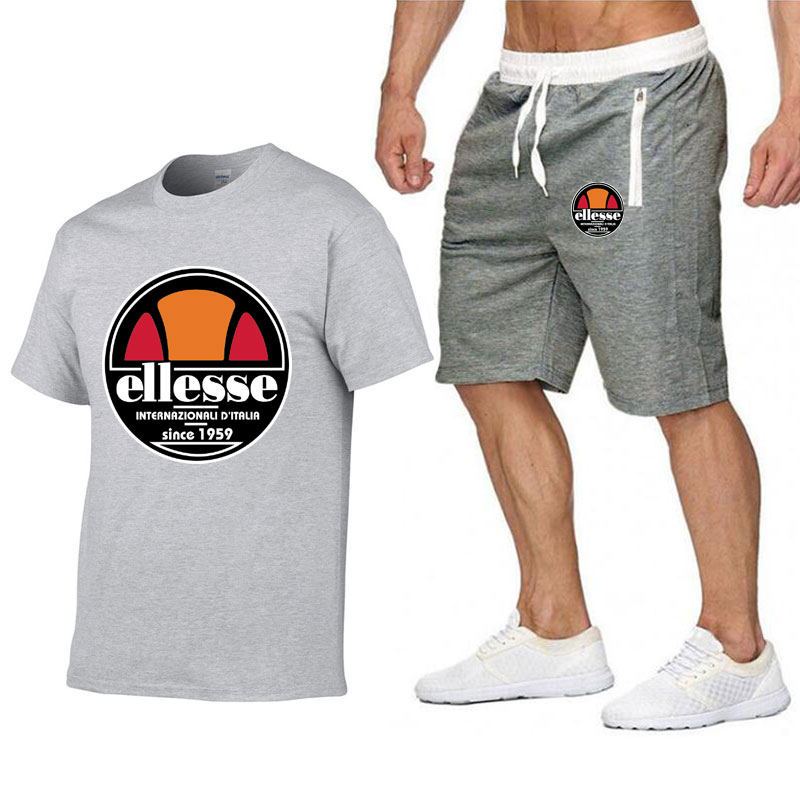 Men's T-shirt Short Sleeves And Shorts Set Casual Fashion Sport Printed Cotton T-shirt And Polyester Shorts Set