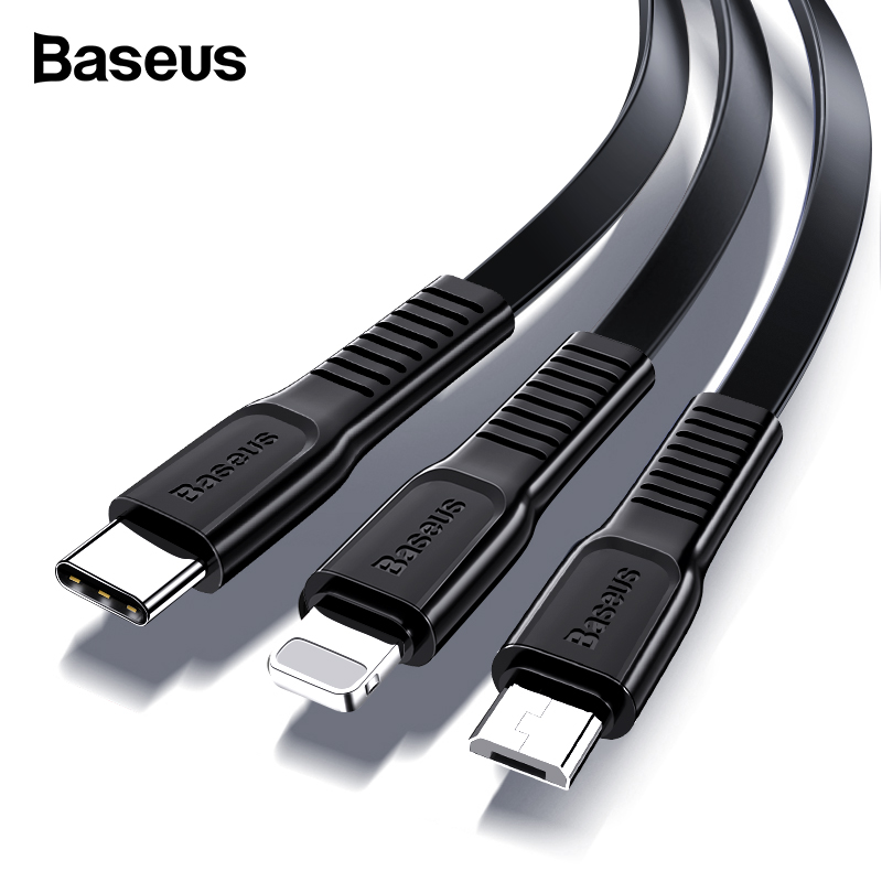 Baseus USB Cable For iPhone XS Max XR X 8 Fast Charging Charger USB C Cord Micro USB Type C Cable For Android Mobile Phone Cable-in Mobile Phone Cables from Cellphones & Telecommunications on AliExpress