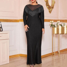 Plus Size Evening Party Dress Shiny Women Autumn Winter Long Sleeve Fringe Sexy Mesh Tassel Long Glitter Sequins Dress Elegant