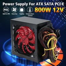 Alimentation PC multicanal 800W, ventilateur 12cm pour PC Intel AMD 12V ATX SLI PCI-E Gaming