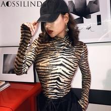 AOSSILIND Autumn Tiger Print Turtleneck Long Sleeve Bodysuit Women 2019 Winter Leopard Bodycon Club Bodysuits