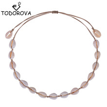 Todorova Fashion Black Rope Chain Natural Seashell Choker Necklace Collar Necklace Shell Choker Necklace for Summer Beach Gifts