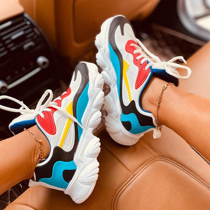 Femmes baskets dames plate-forme vulcanisé chaussures marche à lacets confortable chaussures décontractées Tenis sport formateurs taille 36-43