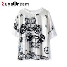 Camiseta de mujer 100% seda REAL satinada de moda de impresión de manga corta y camisa suelta 2019 Otoño Invierno negro camiseta para las mujeres