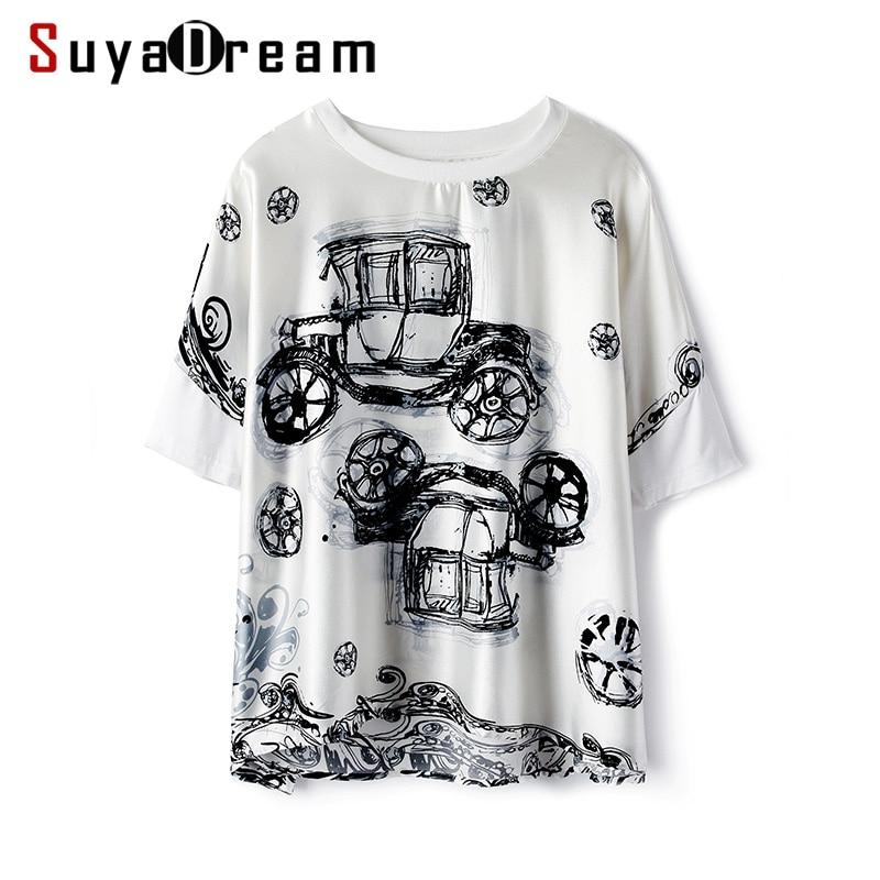 Women T Shirt 100% REAL SILK Satin Fashion Print Short Sleeved and Loose Shirt 2019 Fall Winter Black T shirt for Women