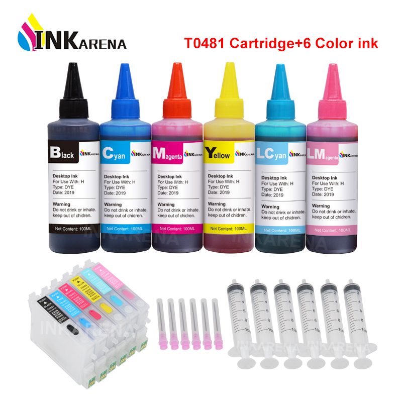 INKARENA T0481 Refillable Ink Cartridges Compatible For Epson Stylus Photo R200 R220 R300 R300M R320 R340 + 6×100ml Printer Ink image