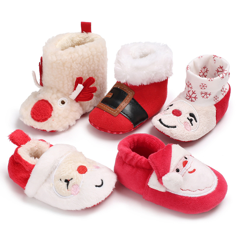 Baby Shoes Boy Girl Christmas Gift Presents Winter Fluff Warm Slippers Boots Cotton Soft Toddler Infant Newborn Crib Moccasins