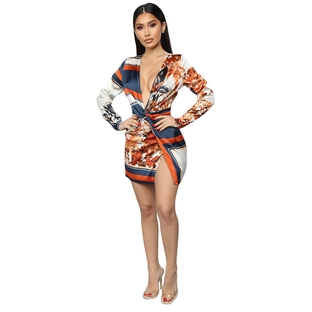 Zoctuo Women Fashion Printed Sexy V-neck Dress Full Sleeve Ladies Mini Dress Middle waist Basic 2019 Summer and Autumn