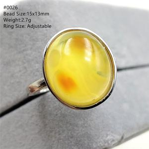 Image 5 - Natural Yellow Amber Adjustable Ring Gemstone Stone For Woman Man Wedding Engagement 925 Sterling Silver AAAAA
