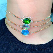 Женское Ожерелье чокер flatfoosie квадратное ожерелье золотистого