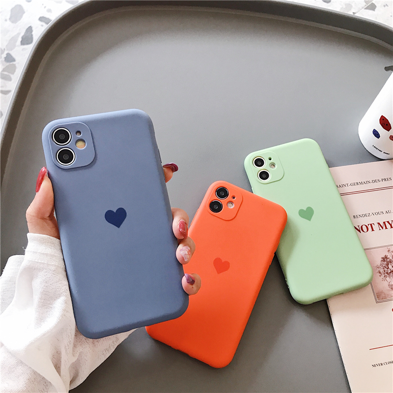 Frosted Lens protection Silicone heart phone case for iphone 11 case 11 pro max x xr xs max 8 7 6 6s plus se 2020 cases Soft Tpu(China)