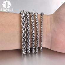 Jiayiqi 3-8mm Stainless Steel Men's Bracelet Punk Silver Color Wheat Link Chain Bracelets for Male Women Fashion Hiphop Jewelry