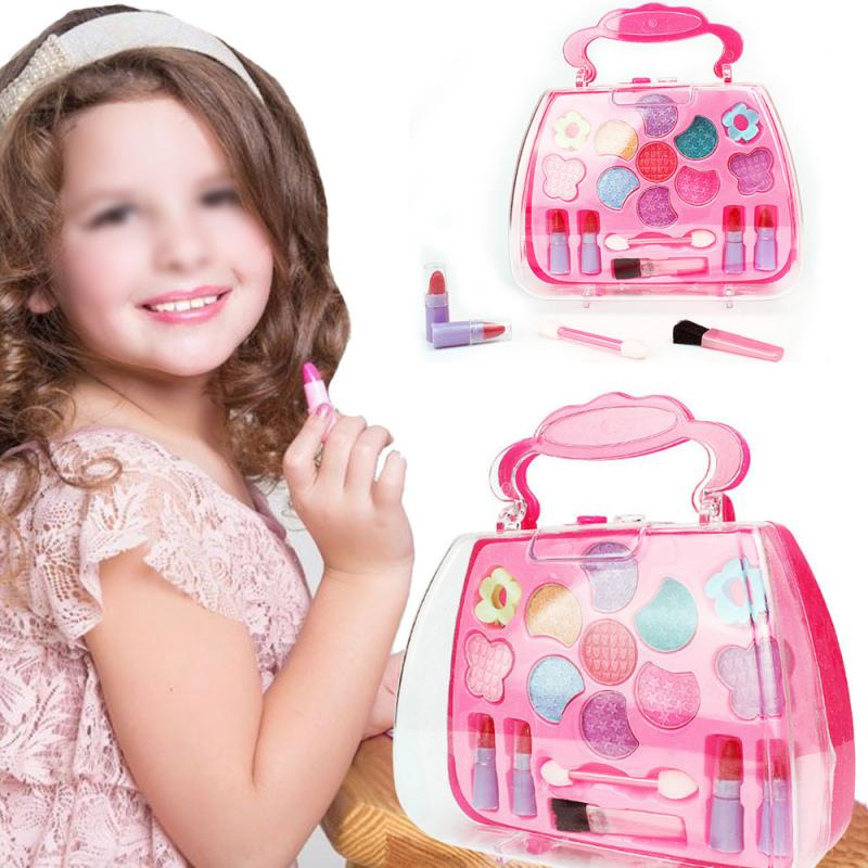 Kids Girl Makeup Set Eco-friendly Cosmetic Pretend Play Kit Princess Toy Birthday Gift Simulation Dressing Table Makeup Safety