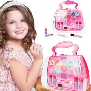 Kids Girl Makeup Set Eco-friendly Cosmetic Pretend Play Kit Princess Toy Birthday Gift Simulation Dressing Table Makeup TSLM1