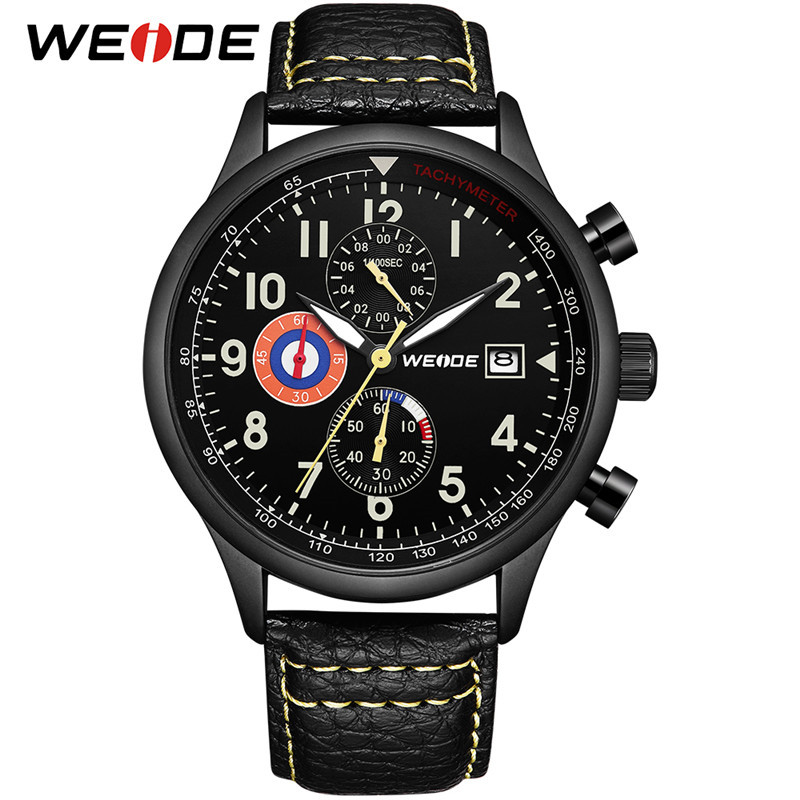 WEIDE Watch Men Sports Analog Military Army Date Leather Small Dial Clock Quartz Watch Wristwatch Relogio Masculino Mens Watches