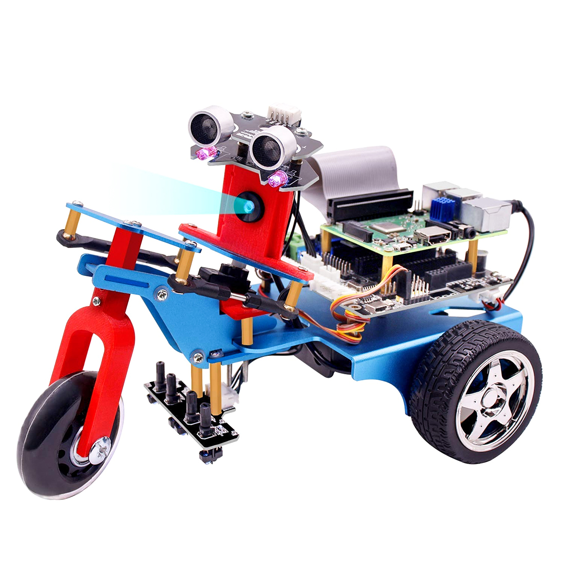 Three-Wheeled Car Shape Smart Robot Car Kit DIY Programmable Robot Kit For Raspberry4/1G(Including:Raspberry Pi)(Pi Not Include)