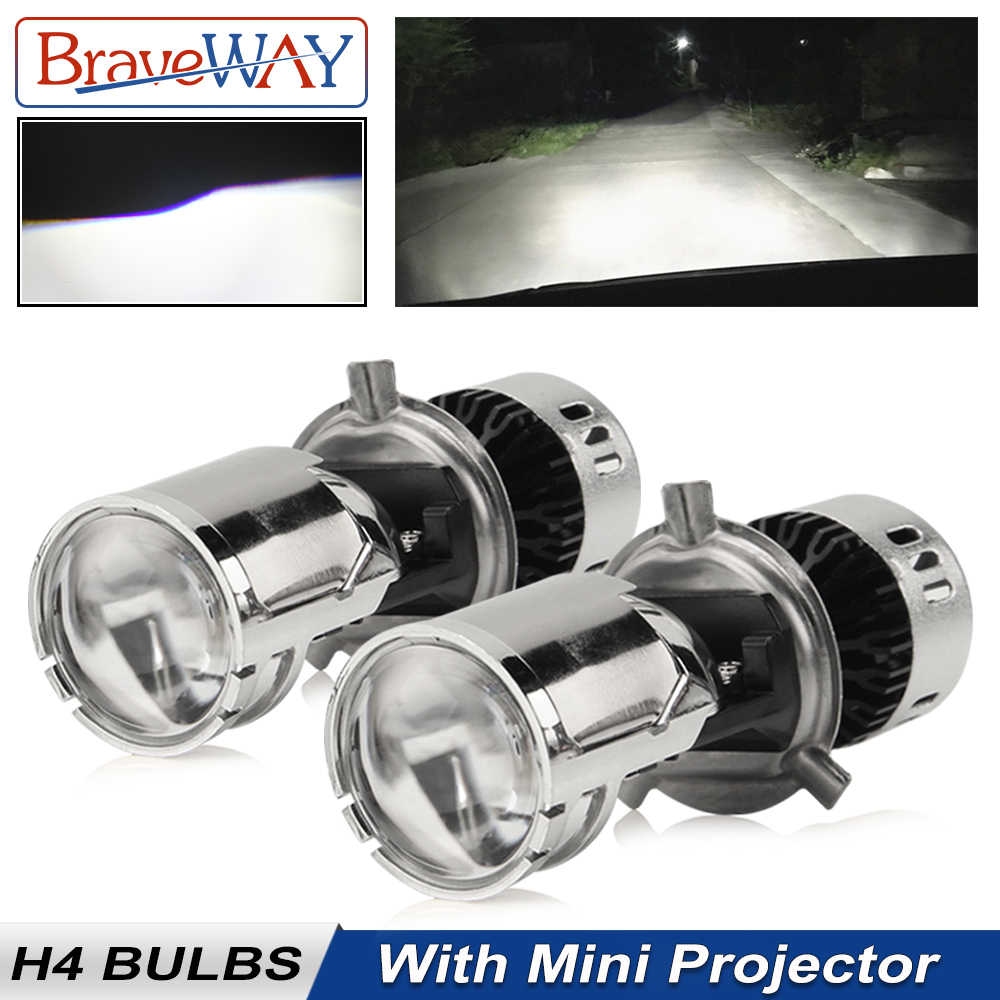 BraveWay CSP Chip H4 Mini LED Projector Hi/lo Beam Car LED Headlight with Lens Automobles LED Bulbs 12V LED Retrofit DIY Kit