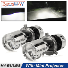 BraveWay CSP Chip H4 Mini LED Projector Hi/lo Beam Car Headlight with Lens Automobles Bulbs 12V Retrofit DIY Kit