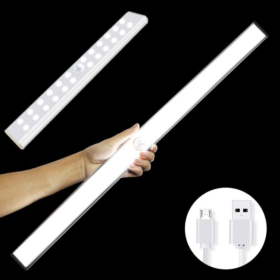 USB Rechargeable 24/40/60 LED PIR Motion Sensor Night Light Kitchen Closet Induction LED Under Cabinet Light With Magnet