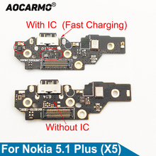 Aocarmo For Nokia X5 / 5.1 Plus Type C USB Charging Port Charger Dock Antenna Connector Mic Flex Cable Circuit Board