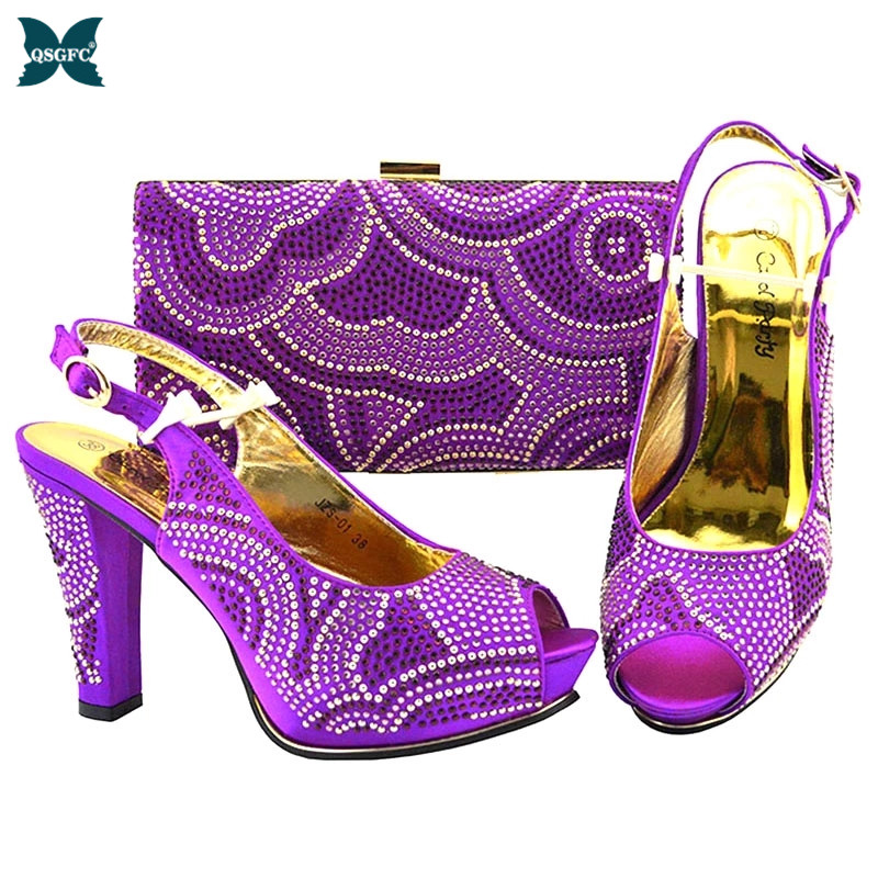 New Fashion Arrival Matching Purple Ladies Shoes and Bag Set In Heels From Italian design Shoes and Shoe Bags Super high heel