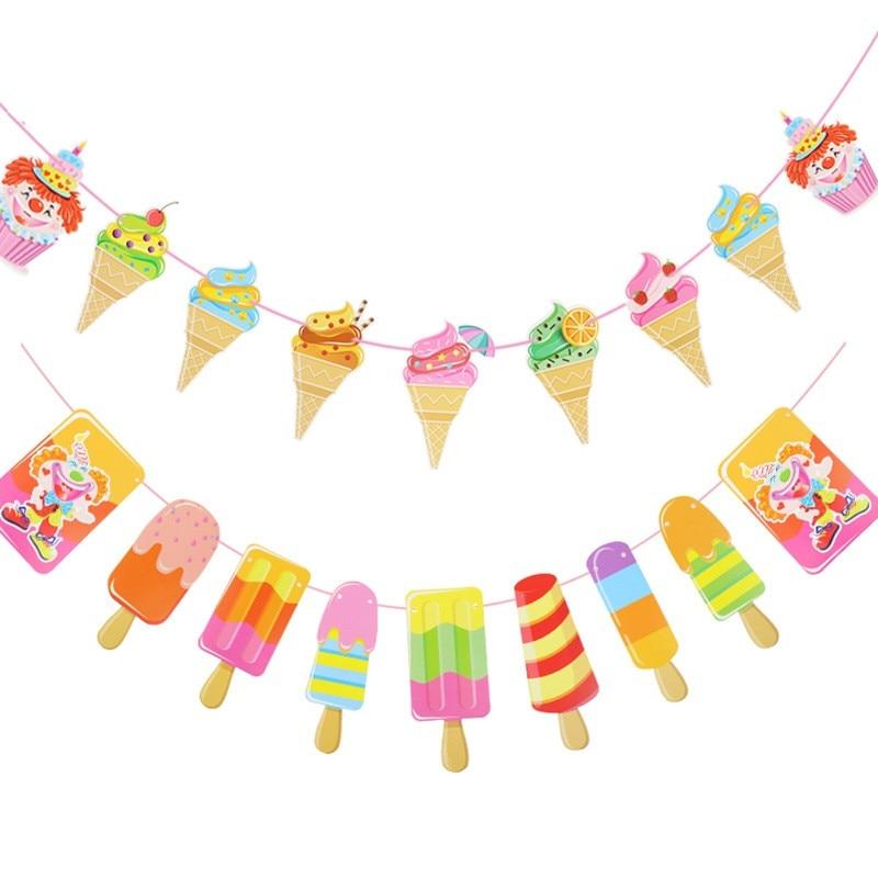 Свежий крутой флажок с мороженым, флажки для тропической летней вечеринки, гирлянда с мороженым, украшение для детского дня рождения
