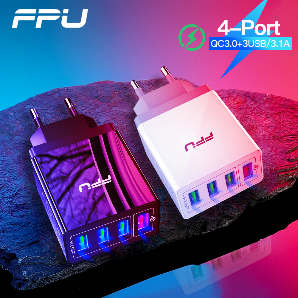 FPU <font><b>USB</b></font> Charger Quick Charge 3.0 Fast Charger <font><b>QC3.0</b></font> QC Multi Plug Adapter Wall Mobile Phone Charger For iPhone Samsung Xiaomi Mi image