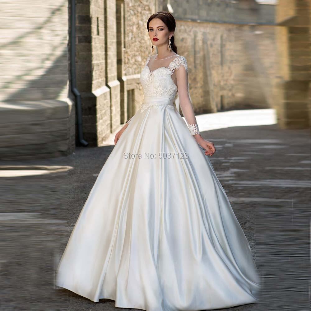 Satin A Line Long Sleeves Wedding Dresses O Neck Bow Sashes Vestido De Noiva Lace Appliques Bridal Wedding Gowns Button Illusion