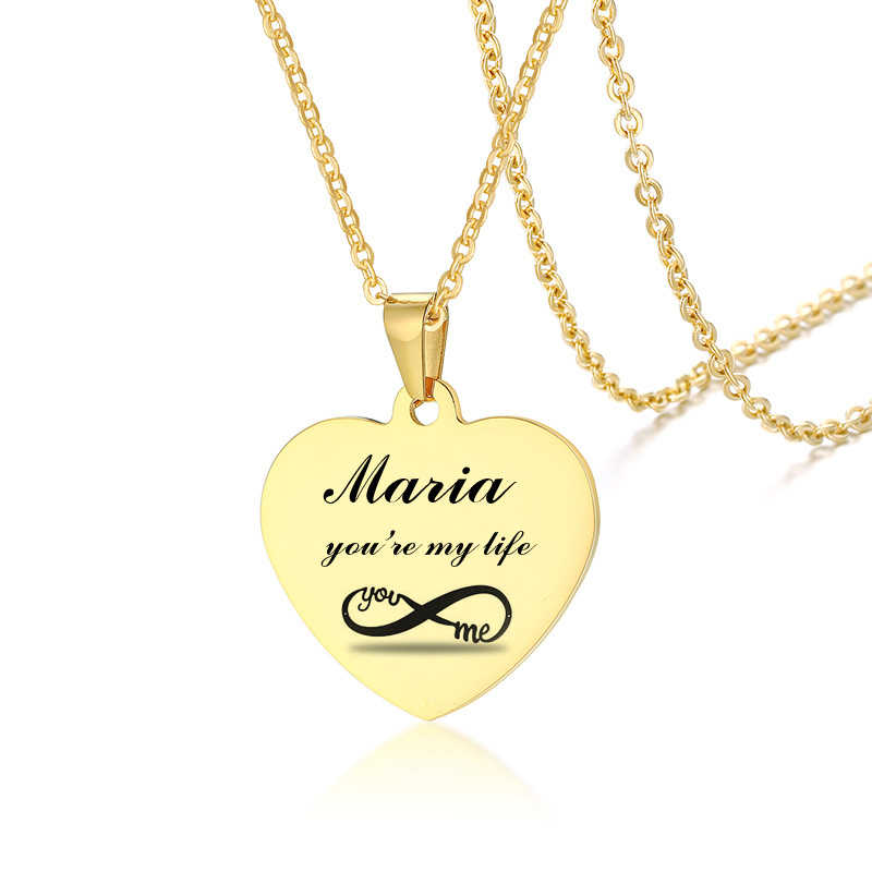 Personalized Heart Necklace Women's Infinited Love Pendant Gold Stainless Steel Monogram Jewelry