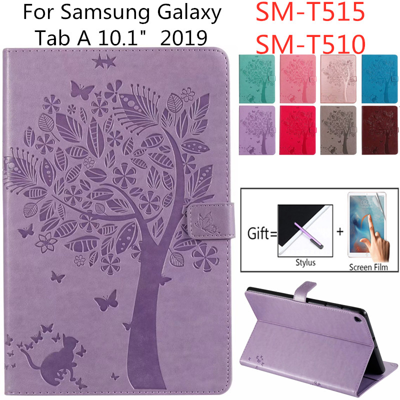 Mercaly For Samsung Galaxy Tab A 10.1 2019 T515 T510 Wallet Flip Stand Case Coque SM-T510n 10.1\